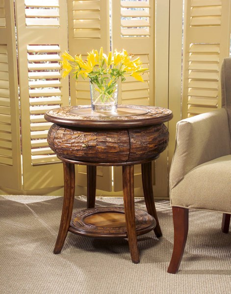 Designer Edge Traditional Leather Round End Table BSF-0232035