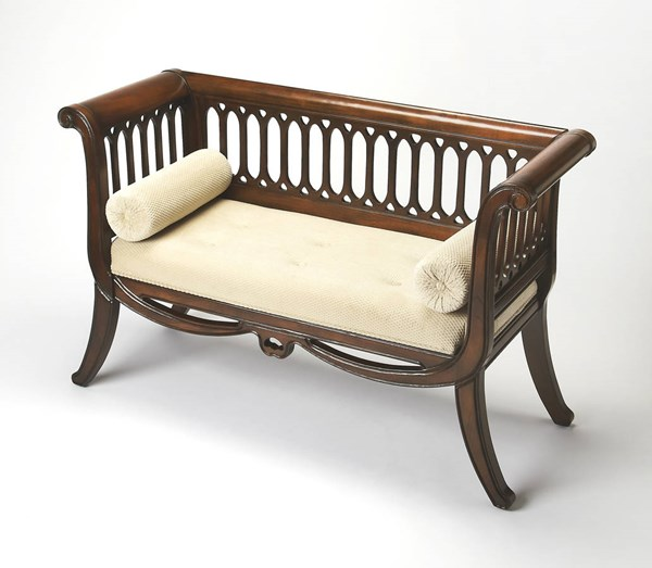 Plantation Cherry Saxon Traditional Rubberwood Cotton English Settee BSF-0284024