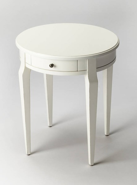 Masterpiece Archer Transitional Cottage White Rubberwood Side Table BSF-0341222