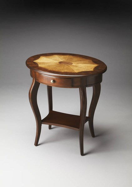 Plantation Cherry Jeanette Traditional Dark Brown Oval Accent Table BSF-0532024