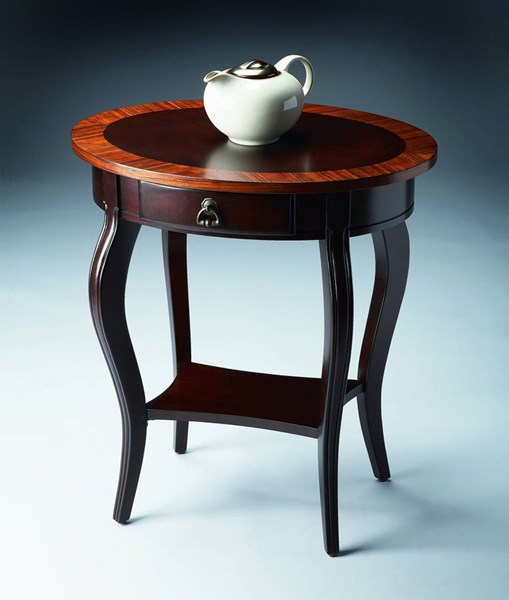 Masterpiece Jeanette Traditional Dark Brown Oval Accent Table BSF-0532211