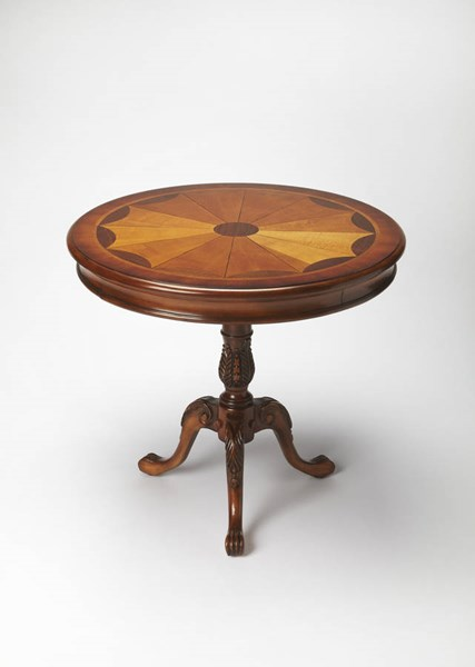 Masterpiece Carissa Olive Ash Burl Rubberwood MDF Round Pedestal Table BSF-0533101