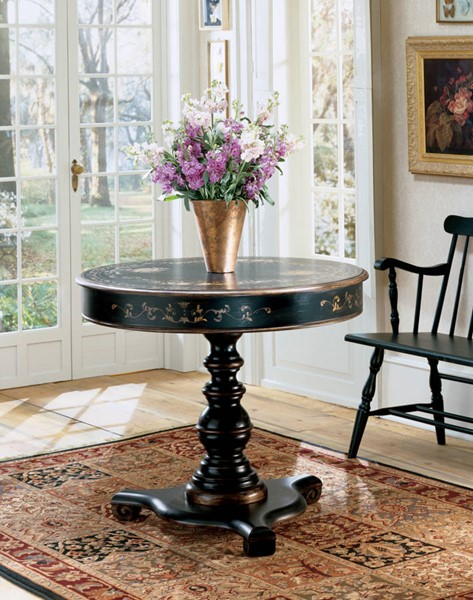 Artists Originals Traditional Black Hand Painted Accent Hall Table BSF-0563069