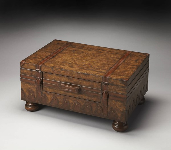 Heritage Vasco Traditional Light Brown Old World Map Trunk Table BSF-0576070