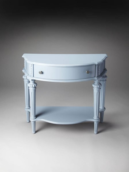 Masterpiece Halifax Glossy Wedgewood Blue Poplar Resin Console Table bsf-0589305
