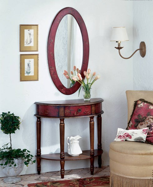 Artists Originals Mozart Red Hand Painted Demilune Console Table bsf-0667065