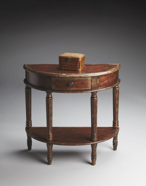 Cherry Wood Storage Half Round Console Table BSF-0667228