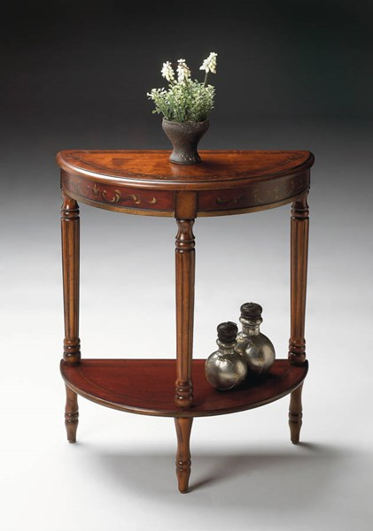 Artists Originals Traditional Cherry Red Demilune Console Table bsf-0889176