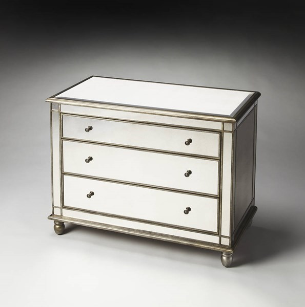 Masterpiece Laflin Transitional Poplar Solids MDF Glass Console Chest BSF-1122146