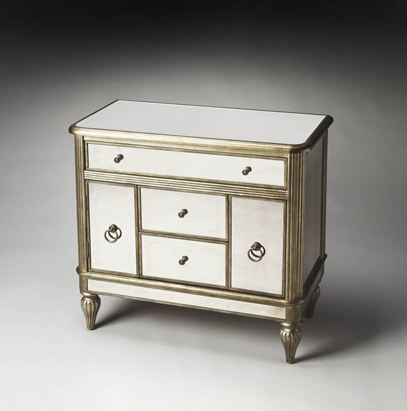 Masterpiece Justine Transitional Silver Poplar MDF Console Chest BSF-1131146
