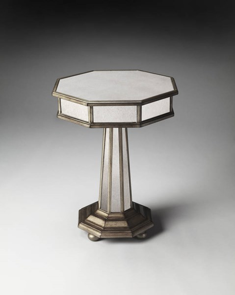 Masterpiece Elena Traditional Poplar Solids MDF Glass Accent Table BSF-1137146