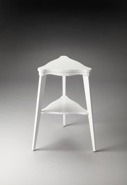 Plantation Cherry Glossy White Rubberwood MDF Tiered Side Table bsf-1145304