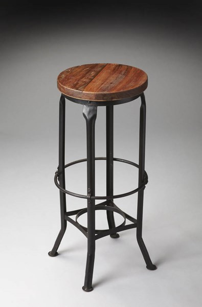 Industrial Chic Iron Recycled Wood Circle Top & Bottom Bar Stool BSF-1167025