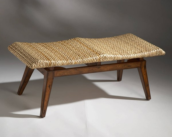 Designer Edge Transitional Wood Natural Seagrass Seat Bench BSF-1215035