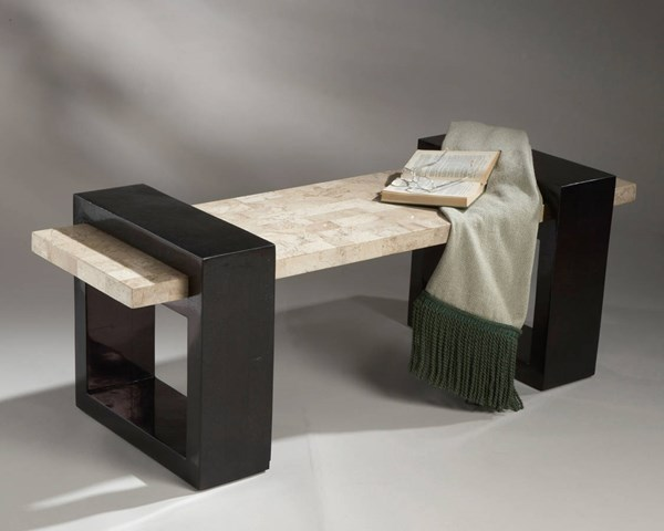 Designer Edge Modern Wood Fossil Stone Seat & Base Bench bsf-1216035