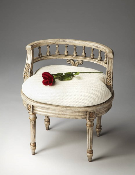 Artists Originals Hathaway Gilted Beige Plywood Fabric Vanity Seat BSF-1218238