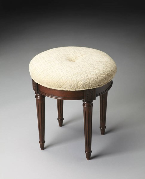 Plantation Cherry Bernadette Transitional Dark Brown Vanity Stool BSF-1250024
