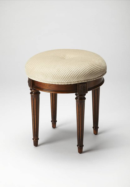 Masterpiece Bernadette Medium Brown Hardwood Fabric Vanity Stool BSF-1250101