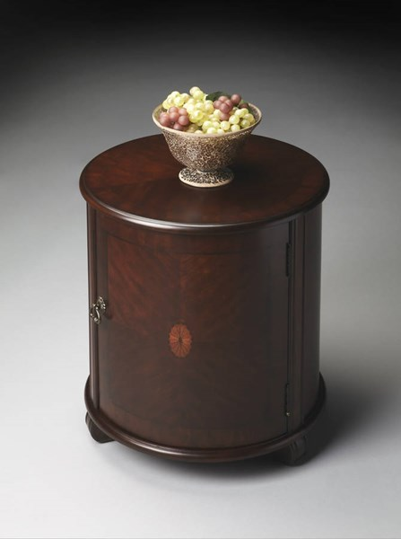 Plantation Cherry Lawrie Traditional Dark Brown Drum Table BSF-1260024