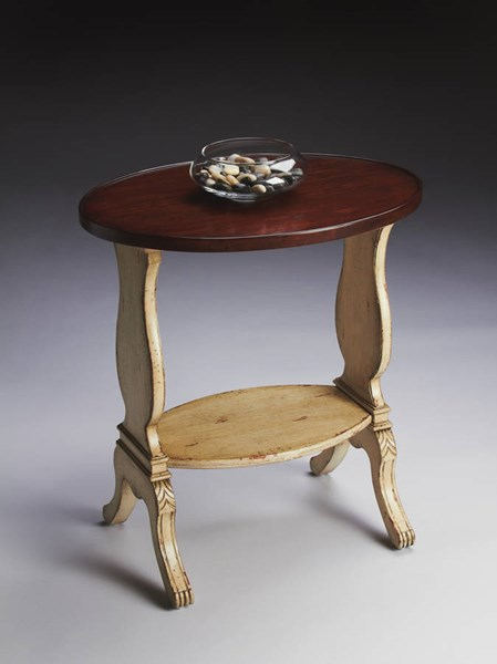Artists Originals Briar Traditional Vanilla Cherry Oval Accent Table bsf-1336115