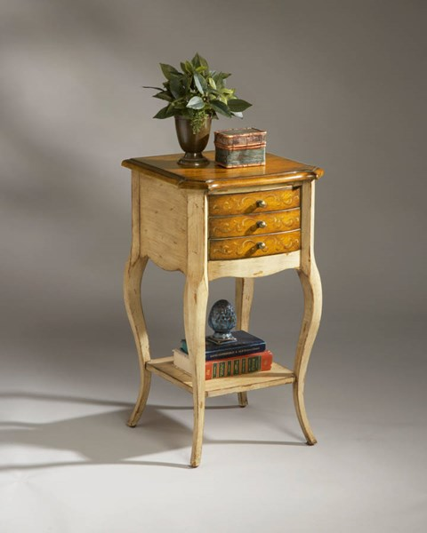 Artists Originals Sylvia Traditional Pine N Cream Accent Table bsf-1375166