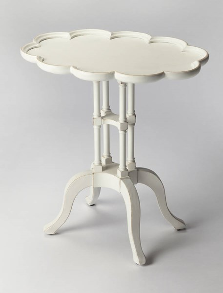 Masterpiece Lloyd Cottage White Rubberwood MDF Resin Accent Table BSF-1387222