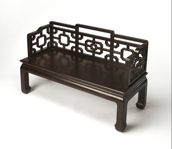 Eastern Inspirations Daiyu Traditional Black Chinese Chippendale Bench bsf-1405096