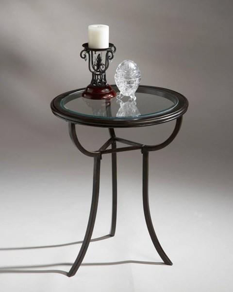 Metalworks Transitional Rich Black Metal Legs Glass Top Accent Table BSF-1451025