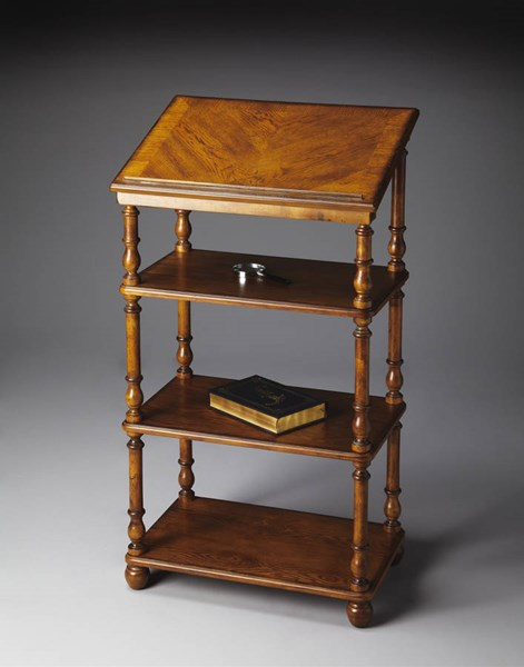 Masterpiece Alden Traditional Medium Brown Solid Wood Library Stand BSF-1512001