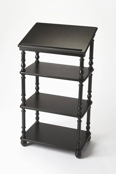 Masterpiece Alden Traditional Black Licorice Solid Wood Library Stand BSF-1512111