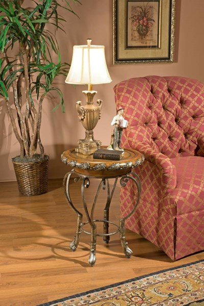 Heritage Traditional Silver Metal Base Leather Inlay Top Accent Table BSF-1521070