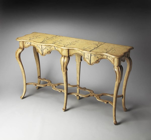 Artists Originals Beige Winter Forest Painted MDF Linen Console Table bsf-1526130