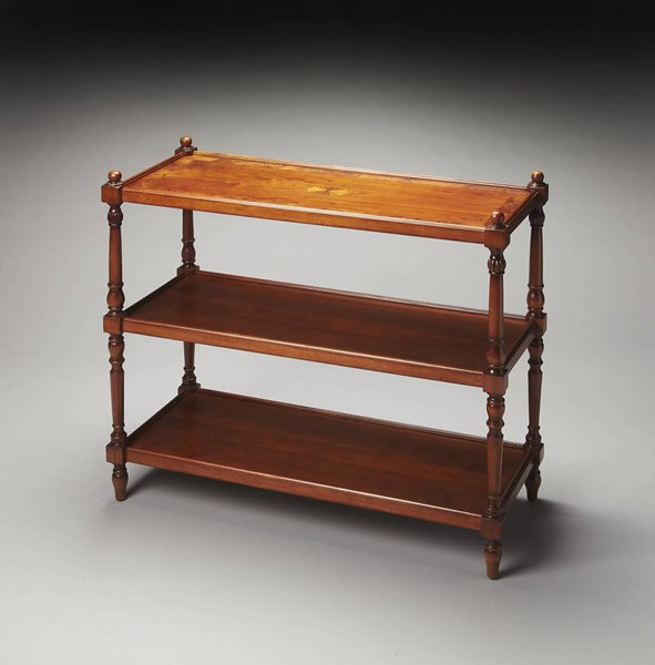 Masterpiece Rothwell Brown Olive Ash Hardwood 3-Tier Console Table BSF-1530101