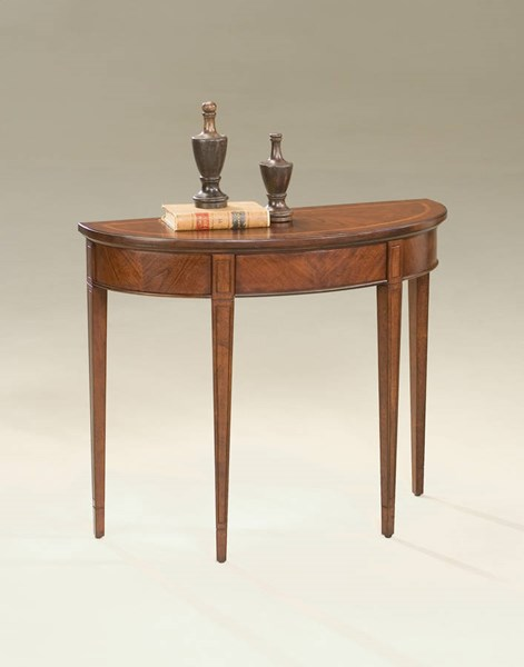 Plantation Cherry Hampton Transitional Brown Demilune Console Table BSF-1533024