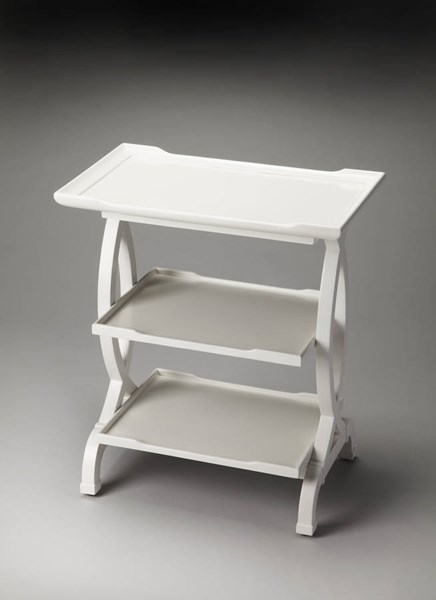 Butler Loft Kimiko Glossy White Poplar MDF Resin Side Table BSF-1570304