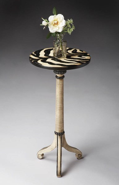 Artists Originals Florence Zebra Stripe Painted Pedestal Table bsf-1583191