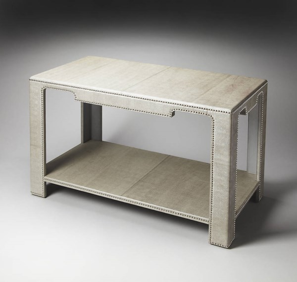 Butler Loft Ricci Modern Gray Leather MDF Console Table bsf-1865140