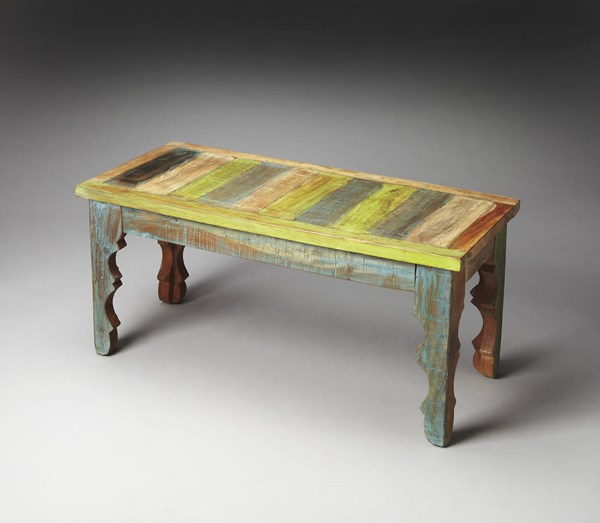 Artifacts Rao Traditional Assorted Painted Wood Bench BSF-1882290