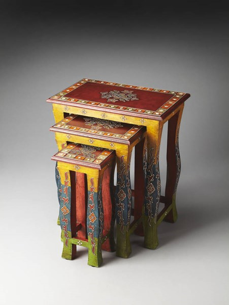 Artifacts Sasha Traditional Hand Painted Select Wood Nesting Tables BSF-1893290