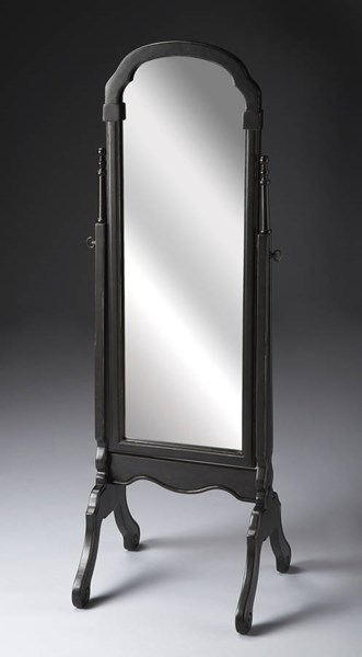 Masterpiece Meredith Black Brushed Sable Solid Wood Cheval Mirror BSF-1911005