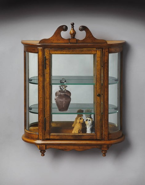 Masterpiece Melinda Traditional Medium Brown Vintage Oak Wall Curio BSF-1927001