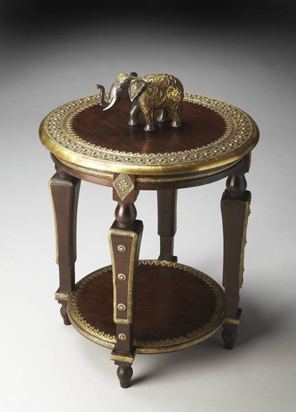 Artifacts Traditional Brass Dark Brown Wood Accent Table BSF-2039290