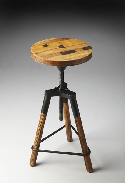 Industrial Chic Iron Recycled Wood Triangle Base Revolving Bar Stool BSF-2048025