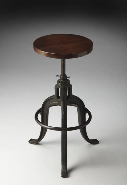 Industrial Chic Iron Recycled Wood Circle Base Revolving Bar Stool BSF-2049025