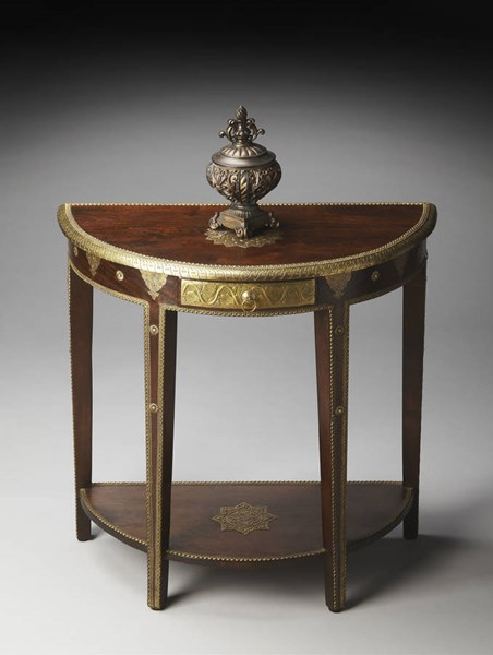 Artifacts Traditional Brass Dark Brown Wood Demilune Console Table BSF-2054290