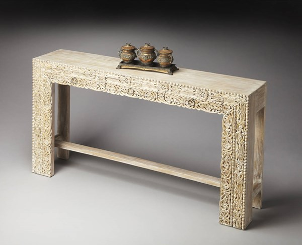 Artifacts Traditional White Recycled Solid Wood Console Table BSF-2069290