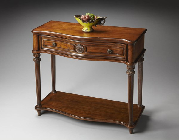 Masterpiece Peyton Traditional Medium Brown Oak Console Table bsf-2130001