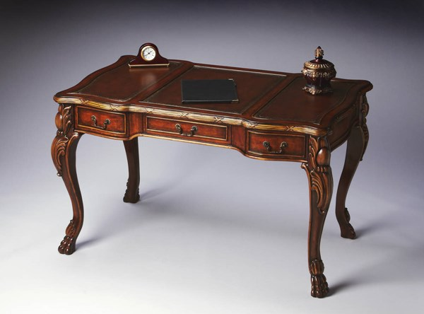 Connoisseur Medium Brown Chestnut Solid Wood Curved Legs Writing Desk BSF-2147090