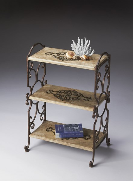 Metalworks Copper Ivory Metal Fossil Stone Etagere BSF-2184025