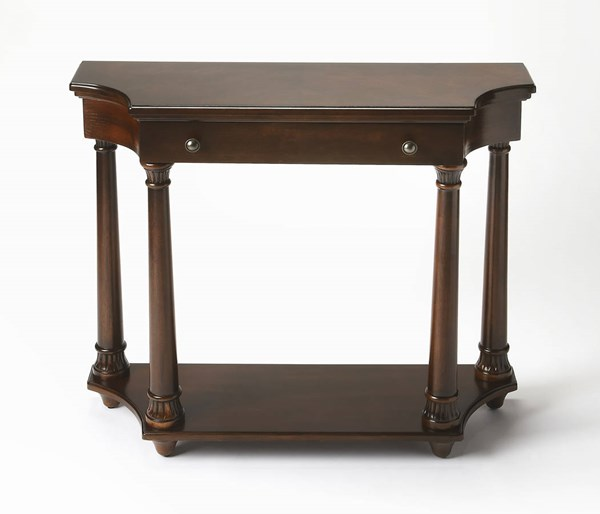 Plantation Cherry Traditional Brown Rubberwood MDF Resin Console Table BSF-2206024